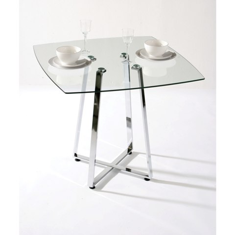 Intricate Square Glass Dining Table - Small square breakfast table