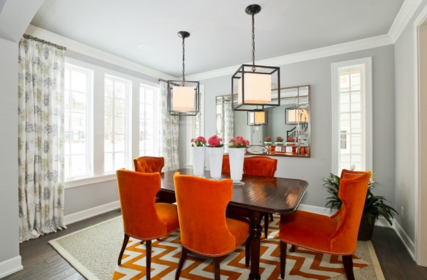 Superb Lovely Orange Dining Room Chairs 0